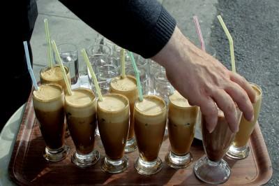 Adrianou str. Monastiraki, - Greek coffee (frape). Athens, Greece